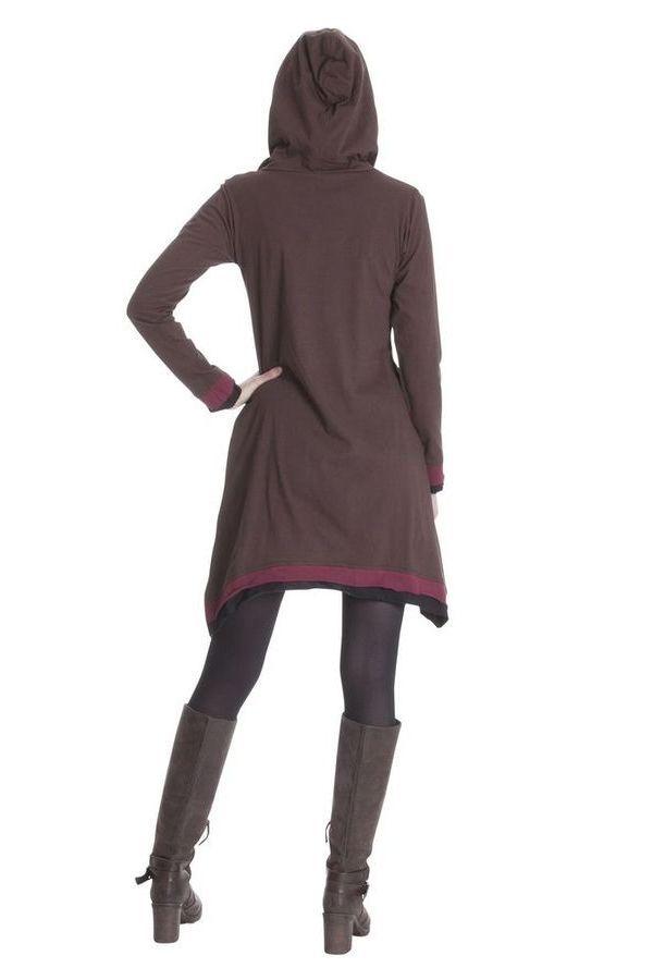Robe du Népal à capuche Chocolat Ethnique et Asymétrique Trista 285342