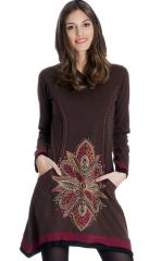 Robe du Népal à capuche Chocolat Ethnique et Asymétrique Trista 286829