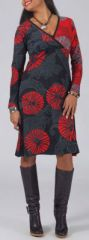Robe effet cache-coeur Ethnique et Glamour Loraline Grise et Rouge 275003