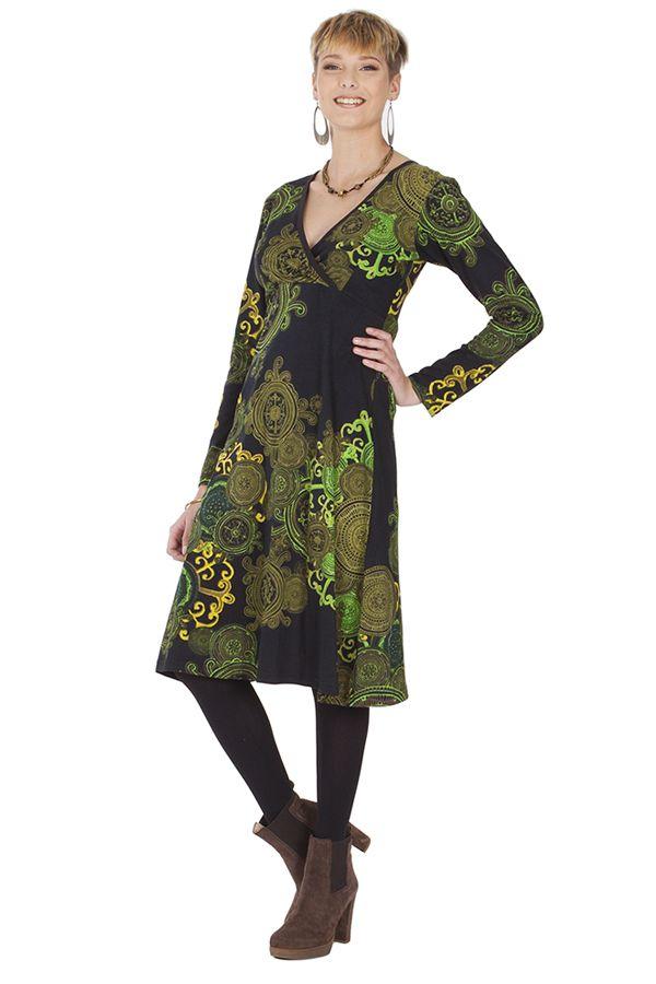 Robe effet Cache-cœur à manches longues Ethnique Mirelle Verte 285371