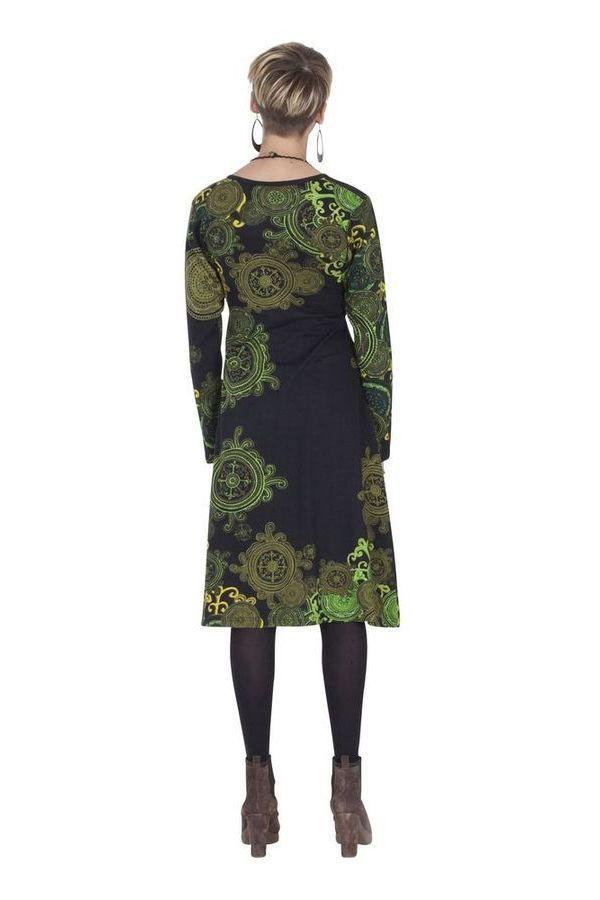 Robe effet Cache-cœur à manches longues Ethnique Mirelle Verte 285372