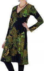 Robe effet Cache-cœur à manches longues Ethnique Mirelle Verte 286647