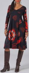 Robe effet portefeuille Ethnique et Colorée Lilwen Noire 274989