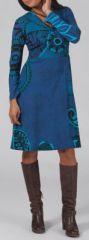 Robe effet portefeuille Ethnique et Originale Louane Bleue 275006
