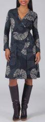 Robe effet portefeuille Ethnique et Originale Louane Grise 275005