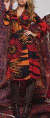 Robe effet portefeuille Ethnique et Originale Louane Rouge 275007