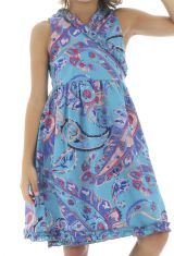 Robe effet portefeuille sans manches et imprimée bleue Mimi 294466
