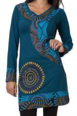 Robe Elégante et Colorée à manches longues d'hiver Urruméa Bleue 278851