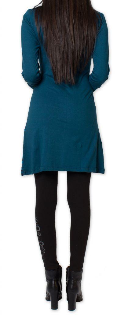 robe elegante et coloree a manches longues d hiver urrumea bleue. Black Bedroom Furniture Sets. Home Design Ideas