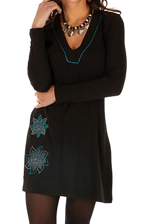 Robe élégante pas cher noire courte femme originale Salsa 313829