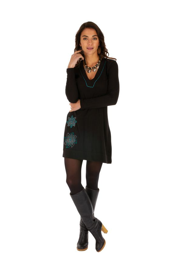 Robe élégante pas cher noire courte femme originale Salsa 313830
