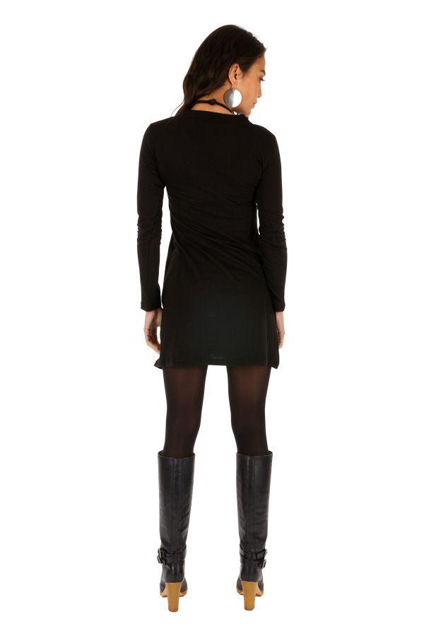 Robe élégante pas cher noire courte femme originale Salsa 313831