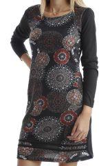 Robe en coton avec imprimés mandala et manches longues Noire Amel 302548