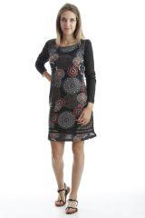 Robe en coton avec imprimés mandala et manches longues Noire Amel 302549