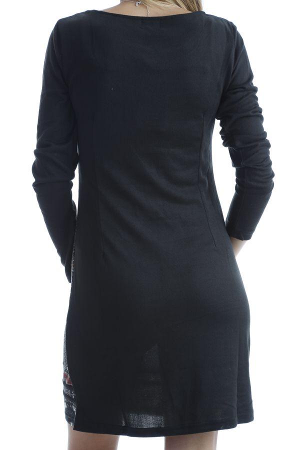 Robe en coton avec imprimés mandala et manches longues Noire Amel 302551