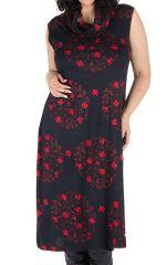 Robe en coton et col roulé ample à imprimé noir et rouge Hira 300628