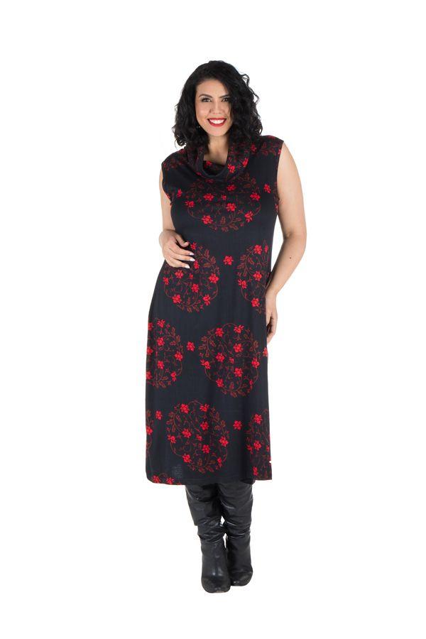 Robe en coton et col roulé ample à imprimé noir et rouge Hira 300629