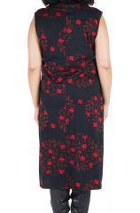 Robe en coton et col roulé ample à imprimé noir et rouge Hira 300631