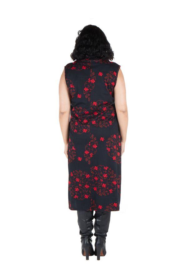 Robe en coton et col roulé ample à imprimé noir et rouge Hira 300632