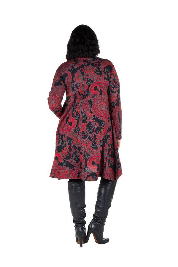 Robe en coton manches longues et col en V Pyrya 301942