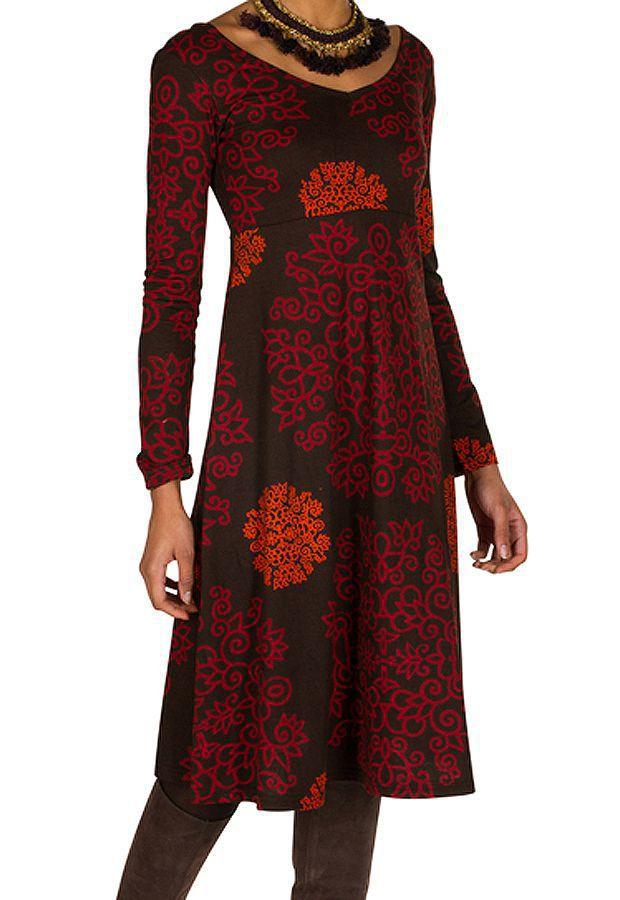 Robe en coton mi-longue coupe Flare avec imprimés originaux Tonya 301539