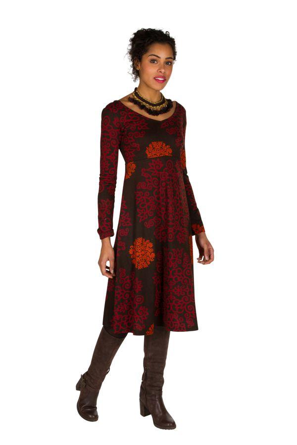 Robe en coton mi-longue coupe Flare avec imprimés originaux Tonya 301540