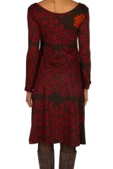 Robe en coton mi-longue coupe Flare avec imprimés originaux Tonya 301541