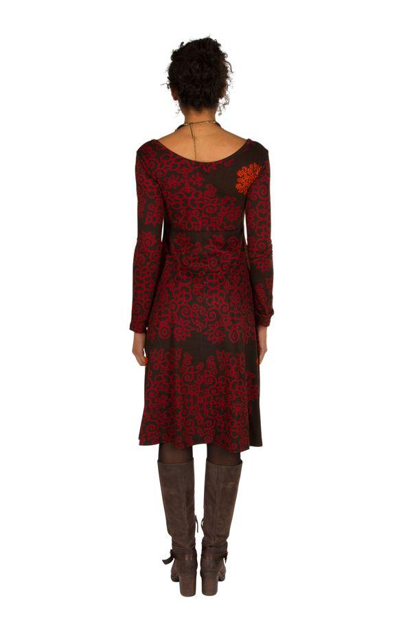 Robe en coton mi-longue coupe Flare avec imprimés originaux Tonya 301542