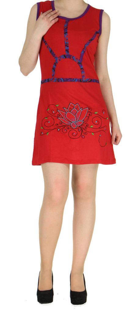 Robe en coton rouge du Népal look bohème boho chic Magy 270428