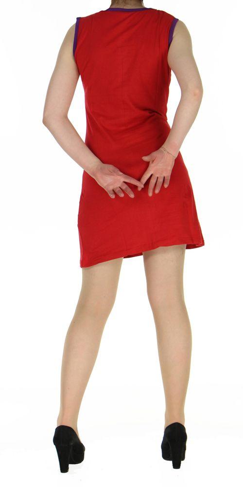 Robe en coton rouge du Népal look bohème boho chic Magy 270429