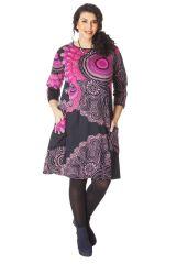 Robe en Grande Taille Originale et Ethnique Artik Noire et Rose 286237