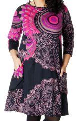 Robe en Grande Taille Originale et Ethnique Artik Noire et Rose 286755