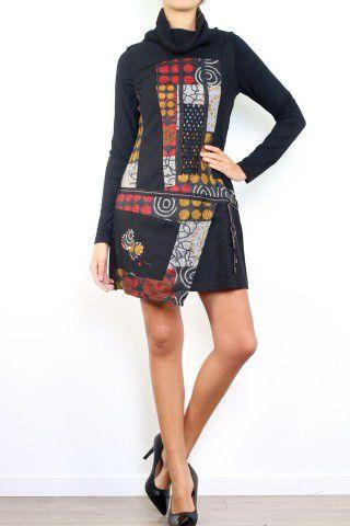 Robe en laine hiver style originale et colorée Sania 302624