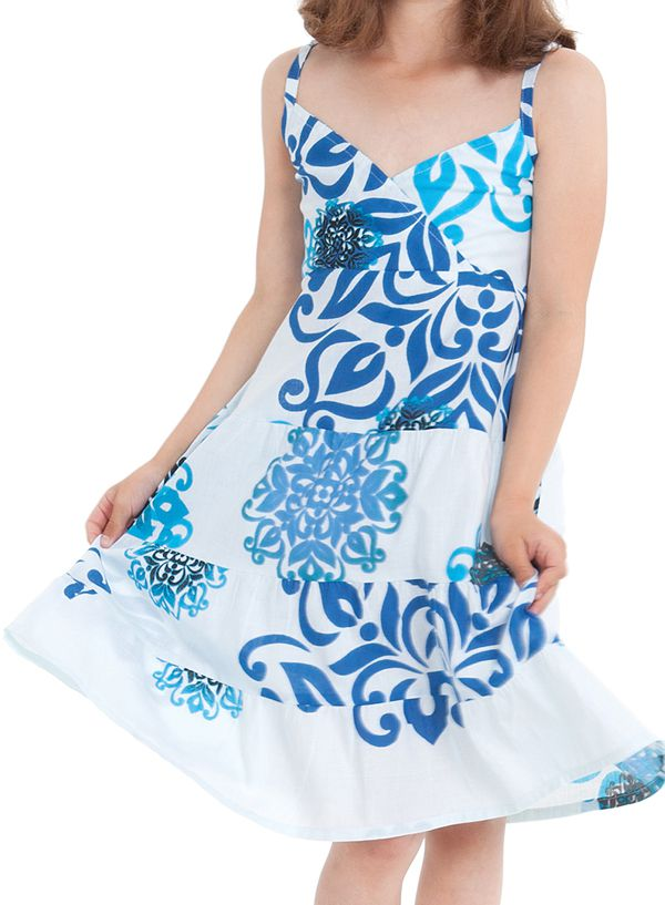 Robe Enfant à col en V Ethnique Blanche et Bleue Plumette 280508