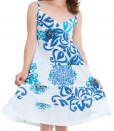 Robe Enfant à col en V Ethnique Blanche et Bleue Plumette 280509