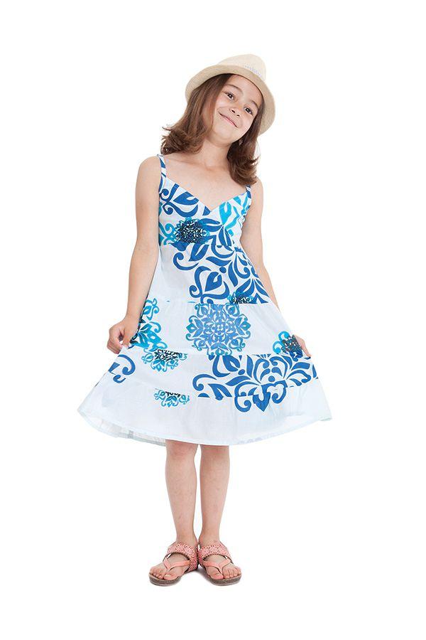 Robe Enfant à col en V Ethnique Blanche et Bleue Plumette 280510