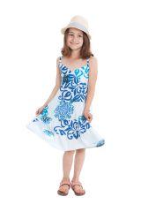 Robe Enfant à col en V Ethnique Blanche et Bleue Plumette 280511