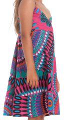 Robe Enfant à col en V Ethnique et Colorée Plumette Fuchsia 280512