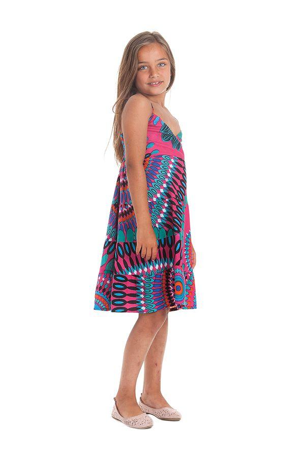 Robe Enfant à col en V Ethnique et Colorée Plumette Fuchsia 280513