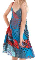 Robe Enfant Bleue et Rouge à col en V Ethnique et Colorée Plumette 280518