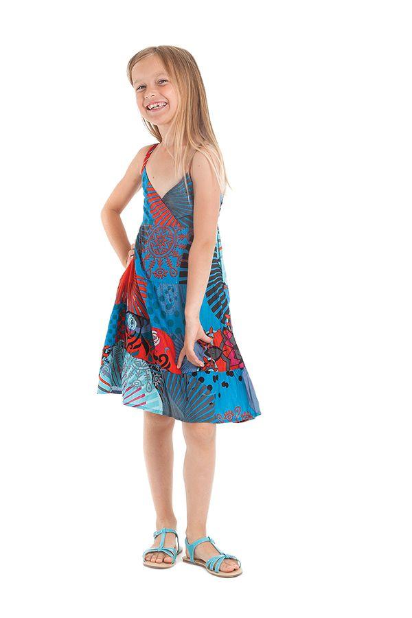 Robe Enfant Bleue et Rouge à col en V Ethnique et Colorée Plumette 280519