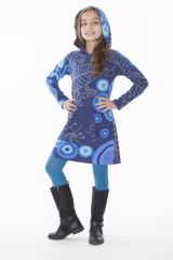 Robe enfant courte Bleue à capuche et poche centrale Solène 302296