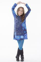 Robe enfant courte Bleue à capuche et poche centrale Solène 302297