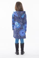 Robe enfant courte Bleue à capuche et poche centrale Solène