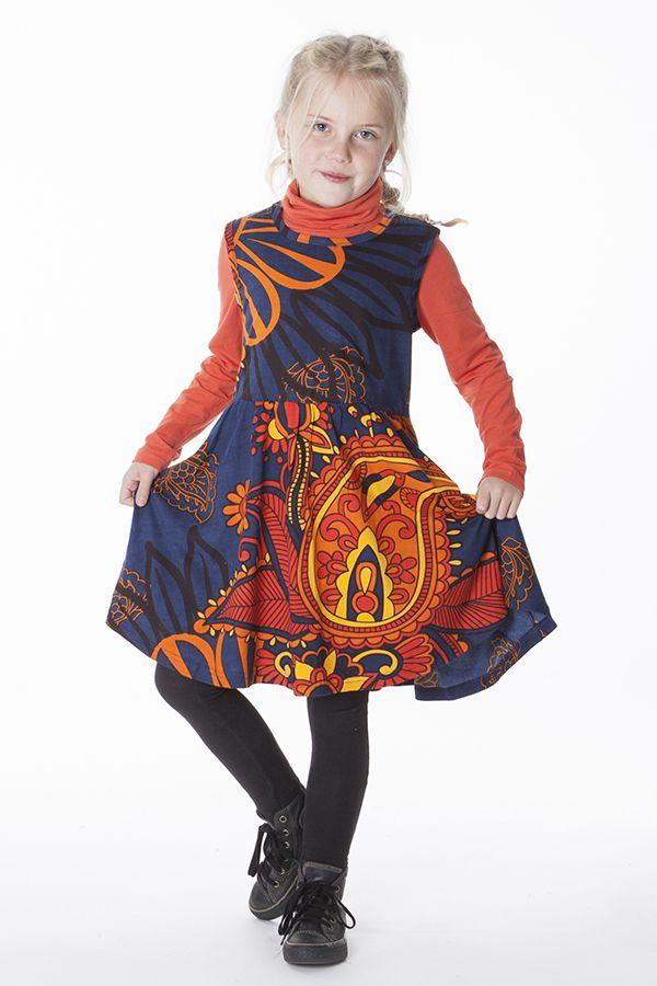 Robe enfant évasée avec un imprimé ethnique coloré 287386