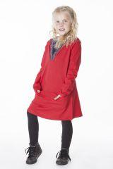 Robe enfant rouge original avec capuche et poches Nasrine 286581