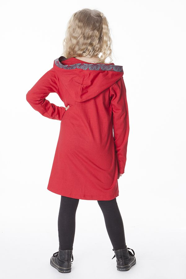 Robe enfant rouge original avec capuche et poches Nasrine 286582