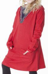 Robe enfant rouge original avec capuche et poches Nasrine 286946