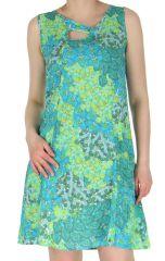 Robe estivale à larges bretelles Imprimée et Colorée Eloise Turquoise 283710