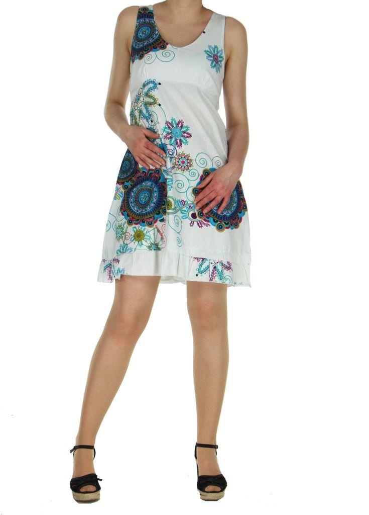 Robe estivale aux imprimés ethnique blanche Elodie 268277